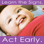 photograph of child, with the words 'Learn the signs, act early' written in purple lettering