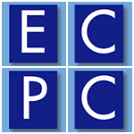 ECPC lettering, white letters on blue background