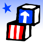Head Start logo, United Stated flag themed colored blocks with an arrow pointed up