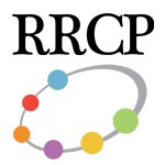 RRCP logo, an ellipse with colored balls placed along it as if in orbit