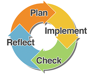 Figure: A four-sectioned feedback wheel. The four sections are labeled: Plan, Implement, Check and Reflect.