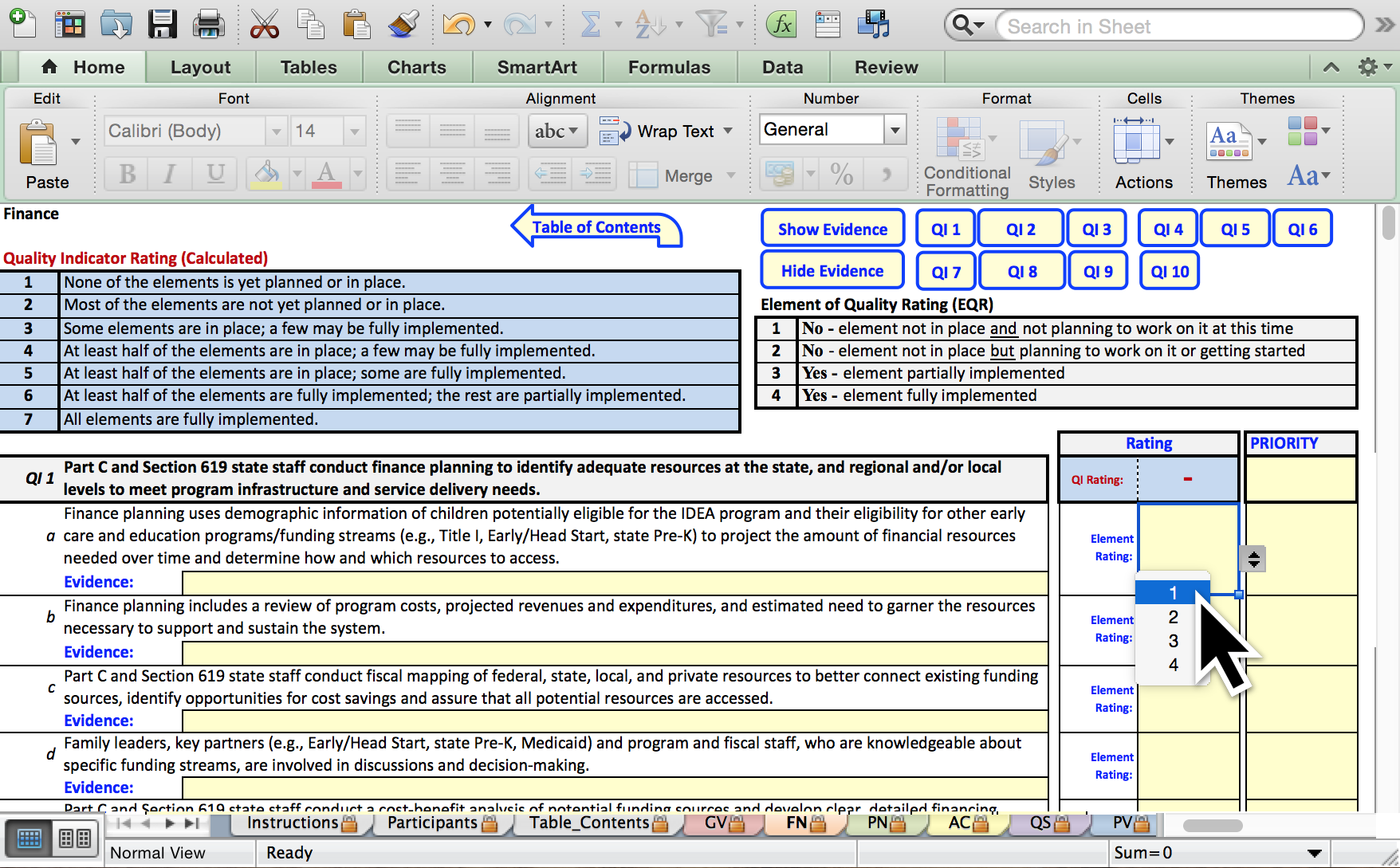 Screenshot: Self-Assessment (Excel Worksheet)